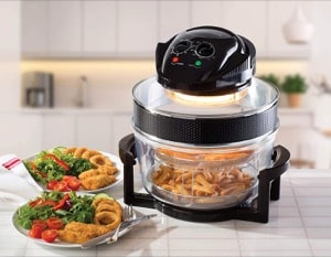 Daewoo Deluxe 17L 1300W Halogen Air Fryer with an Extension Ring- 60min Timer with Self-Cleaning Function  Adjustable Temperature Control and 7 Accessories Included - Black