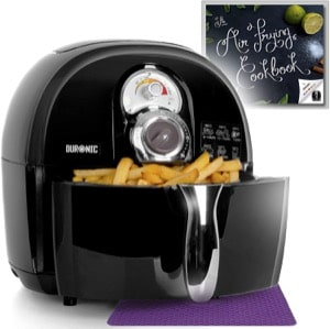 Duronic Air Fryer AF1 /B BLACK| Oil-Free & Low-Fat Healthy Cooking | Mini Oven | 1500W | 4.5L | Timer Function | Adjustable Temperature | Fry Chips  Chicken  Tasty Nutritious Meals | Free Recipe Book