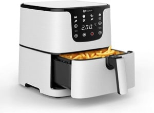 PureMate Air Fryer with Digital Display & Recipes Book  XL 5.5L Healthy Oil Free 1700W Air Fryer with 7 Preset  LED One Touch Screen  Timer & Adjustable Temperature Control for Low Fat Cooking