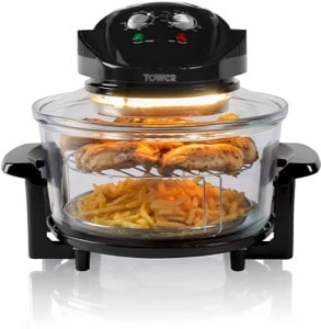 Tower Halogen Airwave Low Fat Air Fryer  Triple Cooking Power of Halogen  Convection and Infrared  1300 W  12 Litre Capacity with Extender Ring  Black
