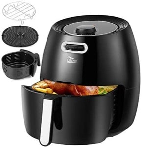 Uten 6.5L Air Fryer 1800W with Rapid Air Technology for Healthy Oil Free & Low Fat Cooking  Baking and Grilling  Plastic  1900 W  Black